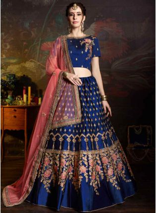 Royal Blue Color Satin Base Embroidered Lehenga Choli