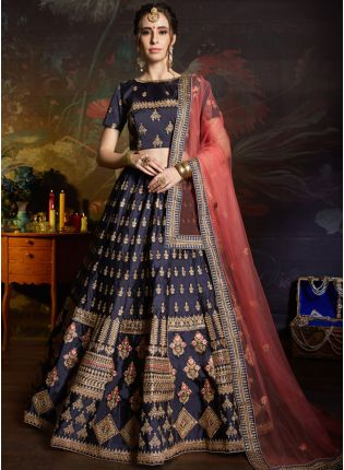 Delightful Navy Blue Color Satin Base Embroidered Lehenga Choli