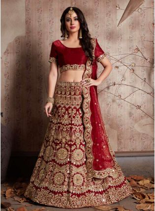 Maroon Machine Embroidery Lehenga Choli With Mirror Work