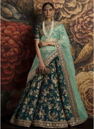 Teal Green Color Embroidred Lehenga Choli Dupatta Set