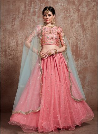 Glossy Pink Color Soft Net Base Sequins Lehenga Choli For Party