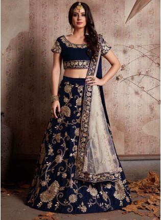 Midnight Blue Machine Embroidery Lehenga Choli With Sequins Embellished
