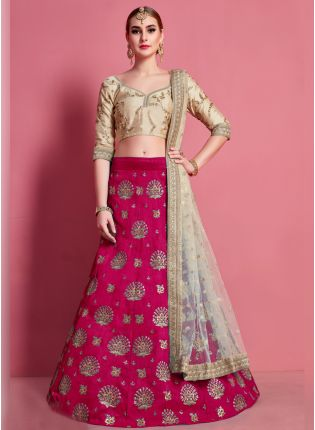 Fantastic Pink Heavily Embroidered Silk Base Lehenga Choli