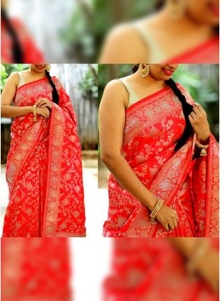 Thrilling Bright Red Jacquard Silk Base Floral Foil Print Saree