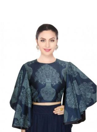 Kimono Sleeve Navy Blue Digital Printed Blouse