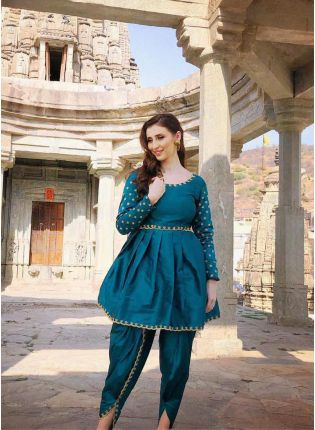 Stylish Rama Green Color Party Wear Dhoti Suit