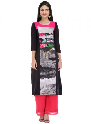 Black And Pink Colored Digital Printed Long Kurta