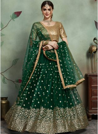 Bottle Green Color Soft Net Base Flared Sequins Work Lehenga Choli