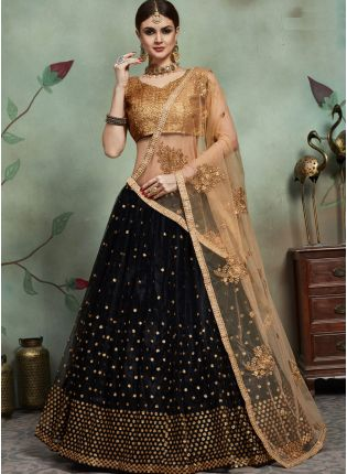 Mind-Blowing Black Color Soft Net Base Sequins Work Designer Lehenga Choli