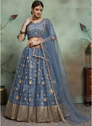 Glossy Grey Color Soft Net Base Embroidered Fared Lehenga Choli