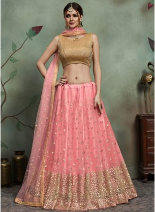 Charming Baby Pink Color Soft Net Base Sequins Work Lehenga Choli