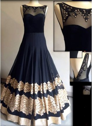 Black Resham Handwork Georgette Designer Party Wear Gown