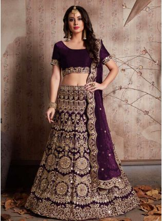 Wine Color Embroidery And Mirror Work Lehenga Choli