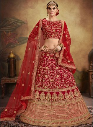 Bridal Wear Red Color Velvet Heavy Embroidered Designer Lehenga Choli