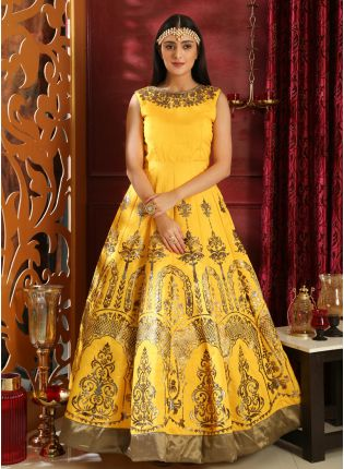 Elegant Bright Yellow Silk Designer Gown With Metallic Foil Print
