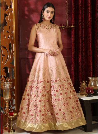 Stunning Peach Pink Silk Base Reception Wear Designer Ethnic Gown