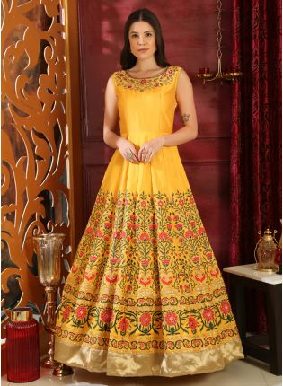 Sparkling And Remarkable Bright Yellow Silk Designer Ethnic Gown