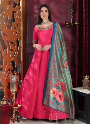 Tempting Deep Pink Silk Base Trendy Festive Wear Digital Printed Gown
