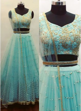 Sky Blue Sequin Soft Net Party Wear Lehenga Choli