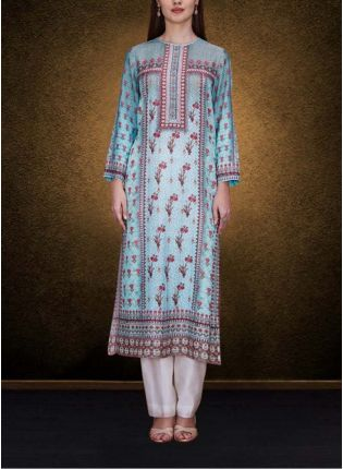 An Aqua Model Kurta Is Floral Print
