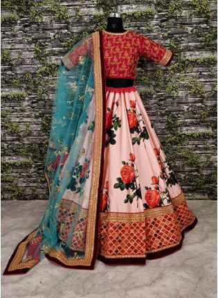 Pink Resham Intricate With Pure Digital Printed Lehenga Choli