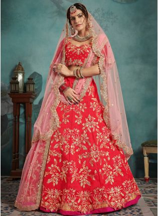 Unbeatable Red Art Silk Designer Bridal Sequin Work Lehenga Choli