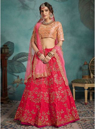 Fantastic Deep Pink Art Silk Base Sequin And Dori Work Lehenga Choli