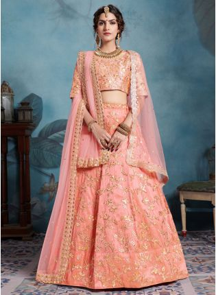 Modish And Adorable Peach Pink Art Silk Base Designer Lehenga Choli