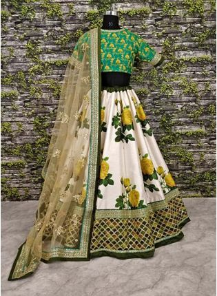 Sea Green Blouse With Printed Lehenga Choli