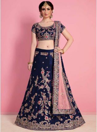 Navy Blue Heavily Drape Bridal Lehenga Choli
