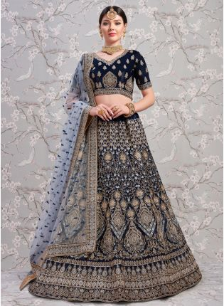 Wonderful Navy Blue Satin Base Designer Zari Work Lehenga Choli