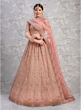 Sensational Peach Colored Georgette Base Wedding Special Lehenga Choli