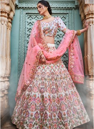 Off White Georgette Base Designer Lehenga Choli