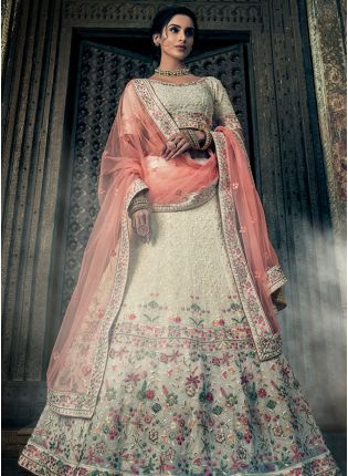 Off White Georgette Base Lehenga Choli
