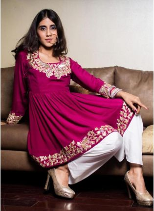 Stylish Rani Pink Color Taffeta Silk Base Palazzo Suit