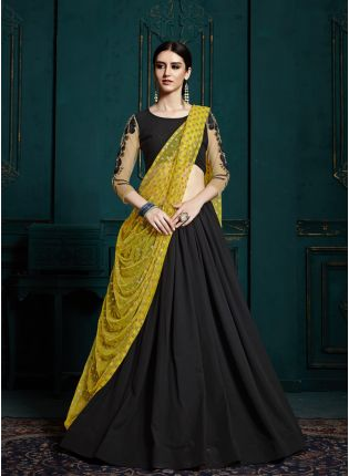 Trendy Black color designer georgette base sequins work lehenga choli
