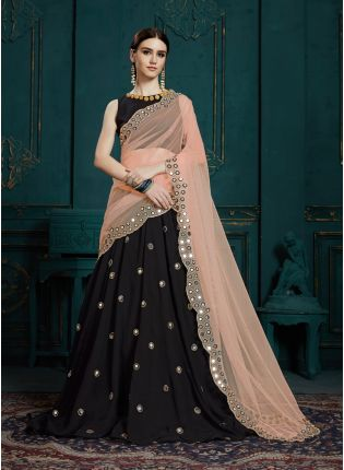 Glossy Black Color Party Wear Mirror Work Designer Lehenga Choli