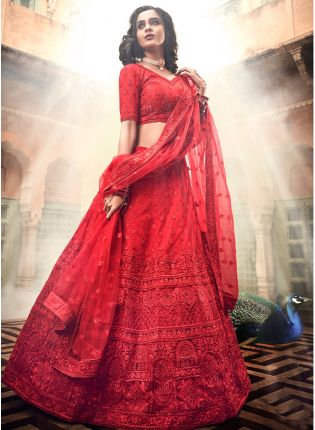 Designer Red Soft Net Base A-Line Lehenga Choli