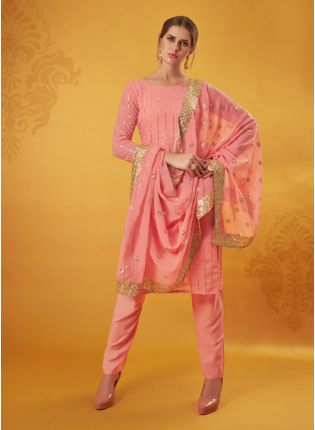 Marvellous Peach Colored Georgette Base Pant style Suit With Zari