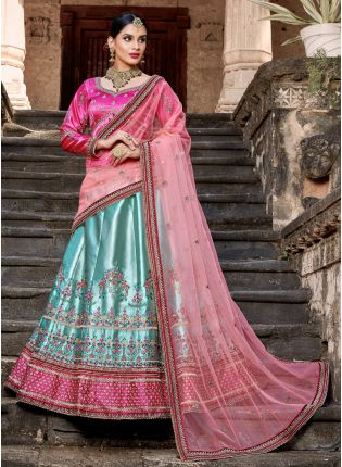 Stunning Sky Blue Colored Satin Base Bridal Wear Lehenga Choli
