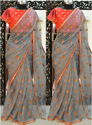 Grey Resham And Organza Fabric Embroidered Saree