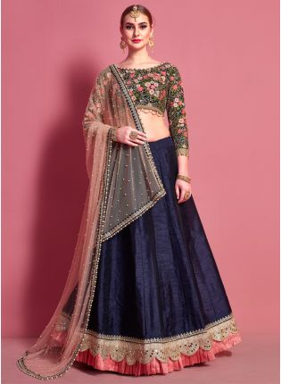 Amusing Navy Blue Heavily Embellished Flared Lehenga Choli