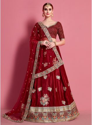 Deep Maroon Royal Lehenga With Gold Embroidery