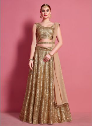 Beige Designer Heavily Embroidered Lehenga Choli Set