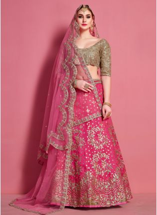 Stylish Pink Heavily Embroidered Art Silk Base Lehenga Choli