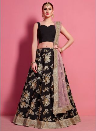 Fantastic Black Heavily Embellished Crepe Base Wedding Wears Lehenga Choli