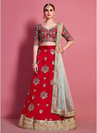 Red Floral Motif Art Silk Base Wedding Wears Lehenga Choli