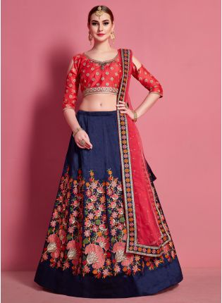 Modernistic Navy Blue Heavily Embellished Lehenga Choli