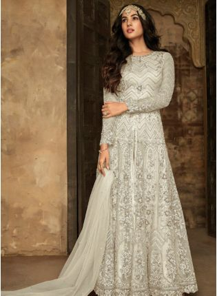 White Zari Resham Soft Net Wedding Slit Cut Pakistani Salwar Suit