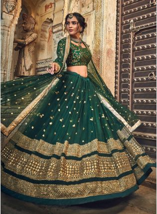 Green Soft Net Zari Work Sangeet Flared Lehenga Choli